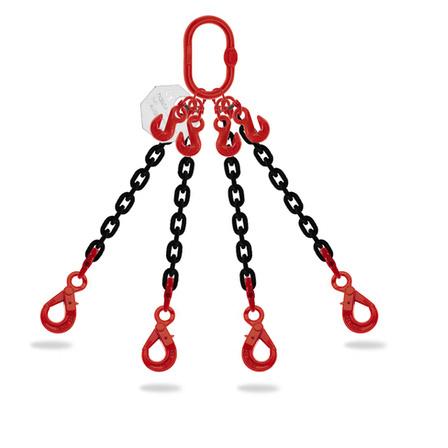 elingue chaine 4 brins diametre 6mm-16mm charge 2,360 tonnes-17 tonnes longueur 2m-3m-4m avec crochets automatiques et raccourcisseurs